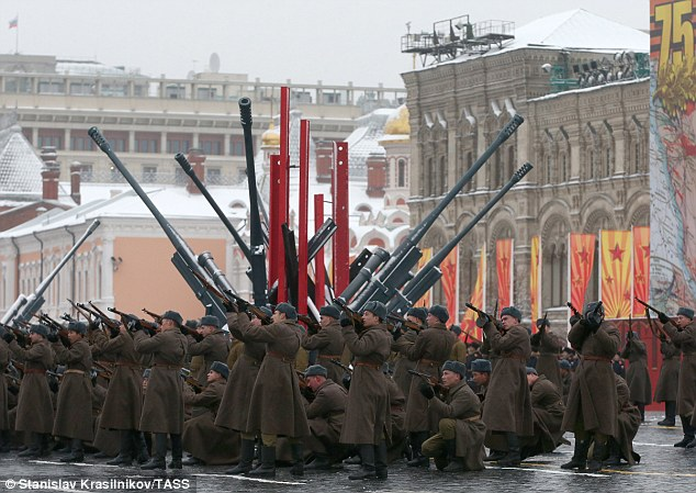 At the weekend Russian soldiers, dressed in World War Two era uniforms, commemorate the 75th anniversary of a famous parade in 1941 when the Red Army headed out of Moscow to take on the Nazis