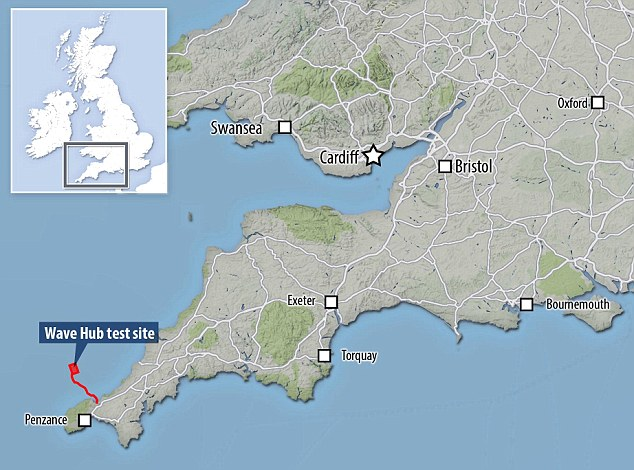 Carnegie Wave Energy, an Australian company, has been granted £9,551,962 ($11,834,069) from the European Regional Development Fund to support the first phase of its planned commercial project at Wave Hub in Cornwall (test site pictured on map)