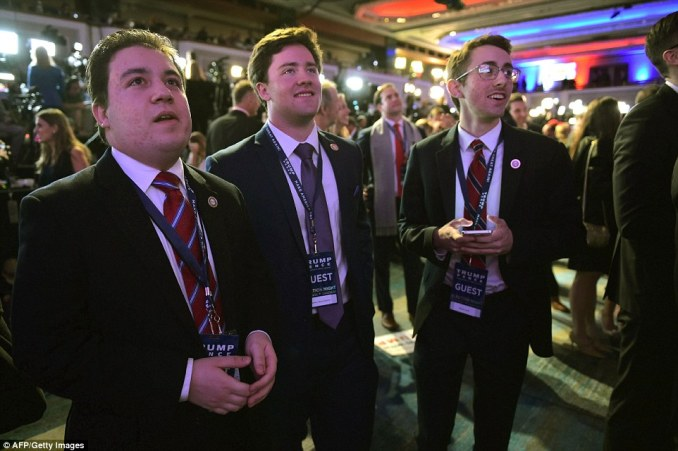 Supporters of Republican presidential nominee Donald Trump watch results unfold on a TV screen during election night at the New York Hilton Midtown