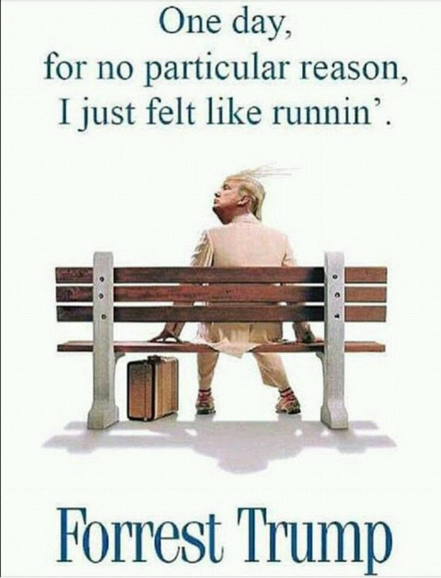 Web users shocked at Donald Trump's surprise victory have reacted with a string of tongue-in-cheek memes. One likened the 70-year-old to Forrest Gump