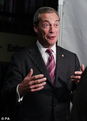 Nigel Farage speaks to the media outside the US presidential election night party at the US Embassy in London earlier this morning