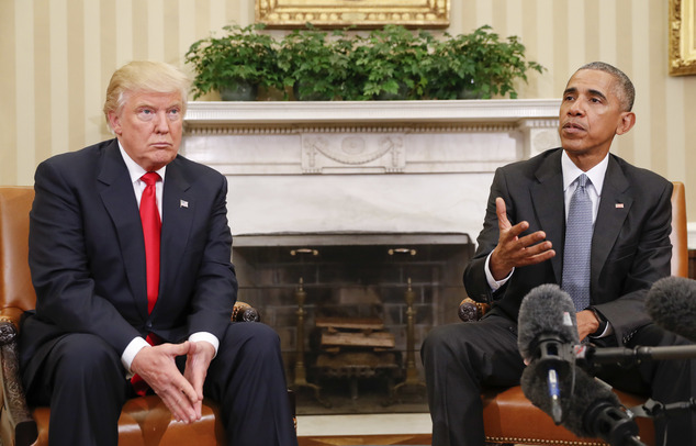 President Barack Obama meets with President-elect Donald Trump in the Oval Office of the White House in Washington, Thursday, Nov. 10, 2016. (AP Photo/Pablo ...