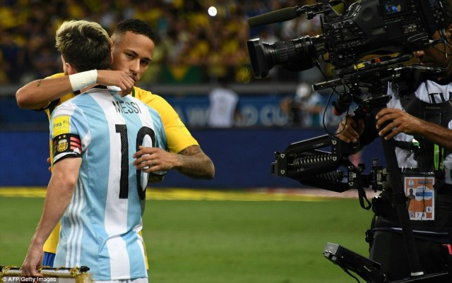 There was time for current Barcelona team-mates Messi and Neymar to embrace prior to kick-off in Belo Horizonte