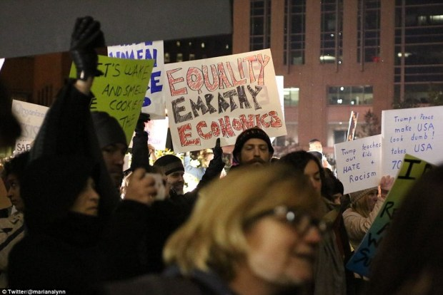 A large crowd of protesters is seen gathered in Indianapolis on Saturday night during demonstrations against President-elect Donald Trump