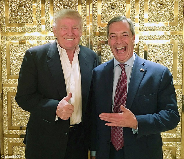 Farage was given a tour of new leader of the free world's New York home with its floor-to-ceiling marble, gilded columns and pilasters