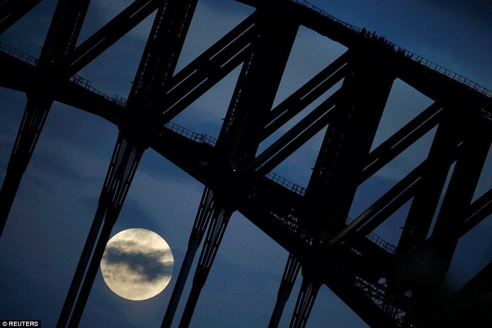 Stunning image of the supermoon peaking through the clouds and the iconic Sydney Harbour Bridge