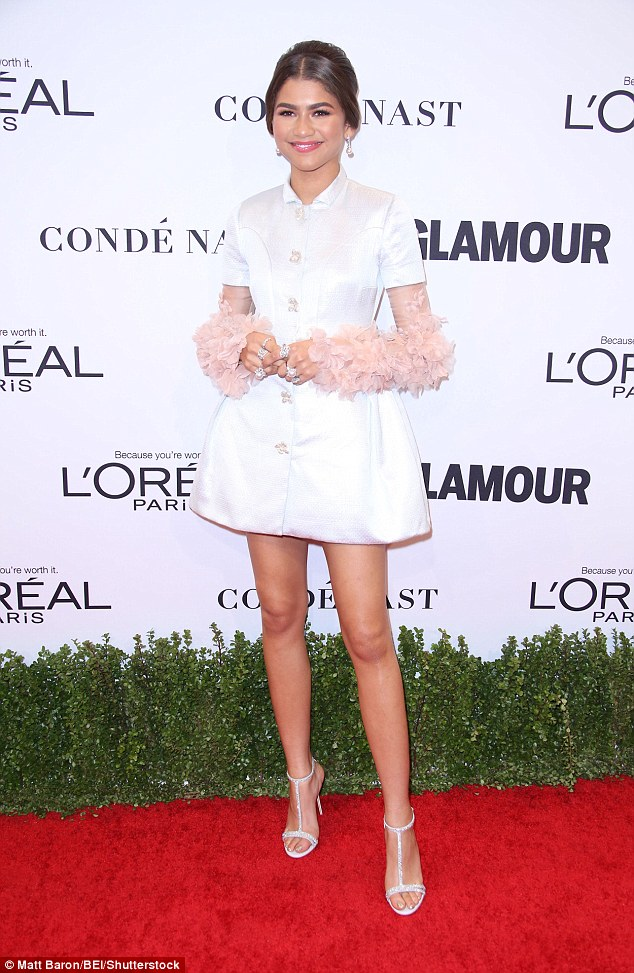 Greensleeves: Zendaya adorned herself in petals in an exquisite white dress at the Glamour Women of the Year Awards on Monday night