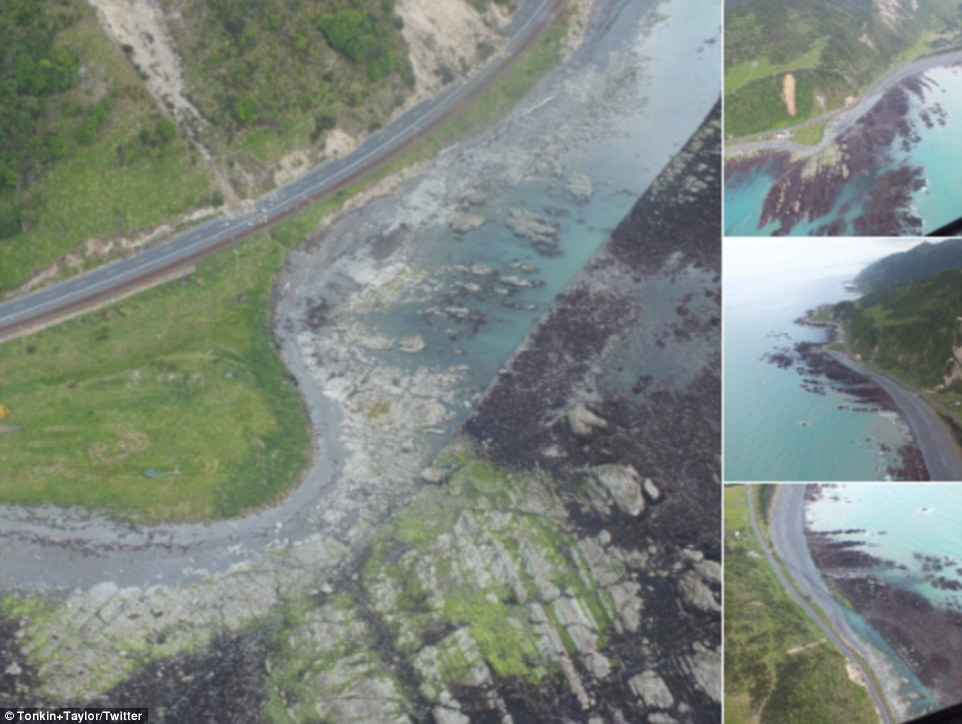 Landslide: Aerial photos capture the devastating aftermath of the New Zealand coastline after it was hit by a 7.8 magnitude earthquake around midnight Sunday