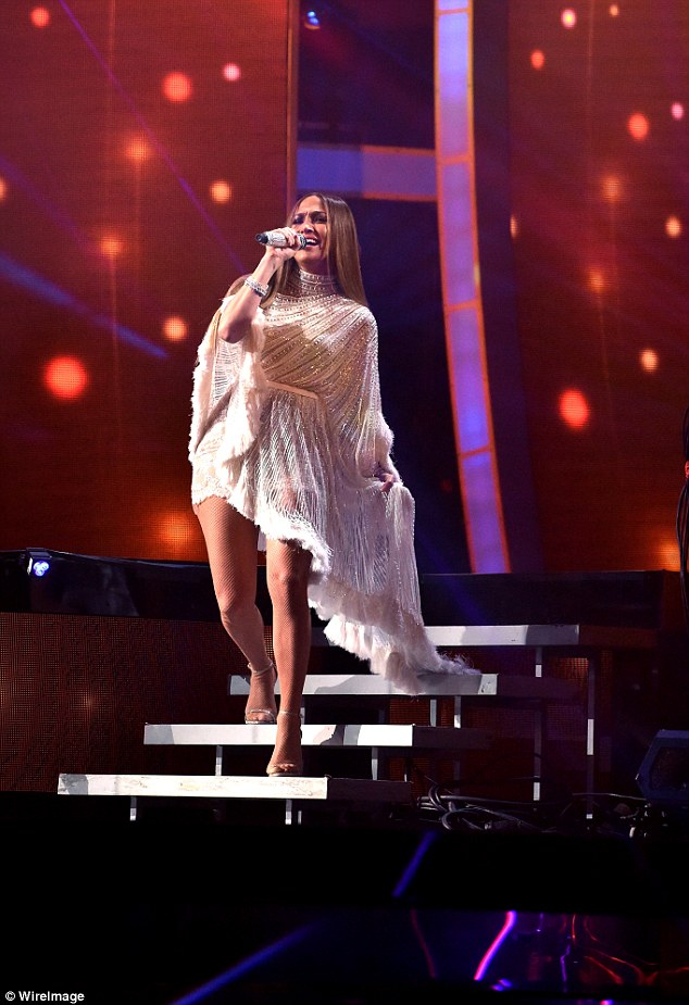 Belting it out: JLo also performed during the evening