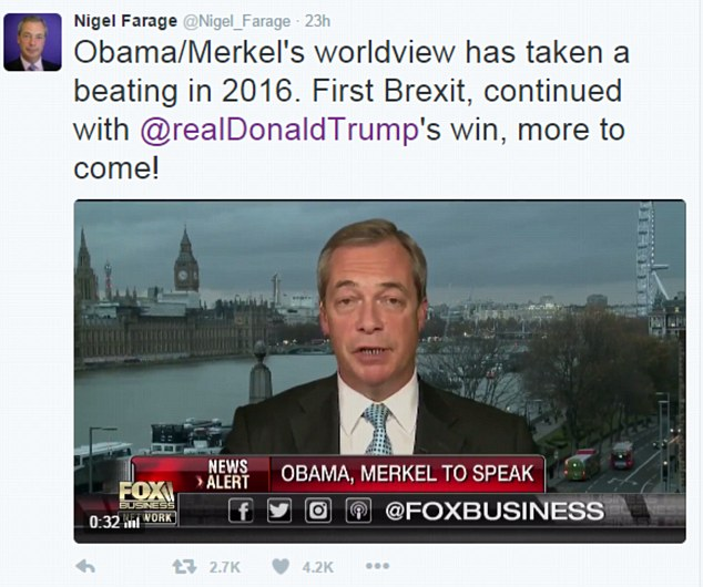 The politician tweeted: 'First Brexit, continued with Donald Trump's win, more to come!'