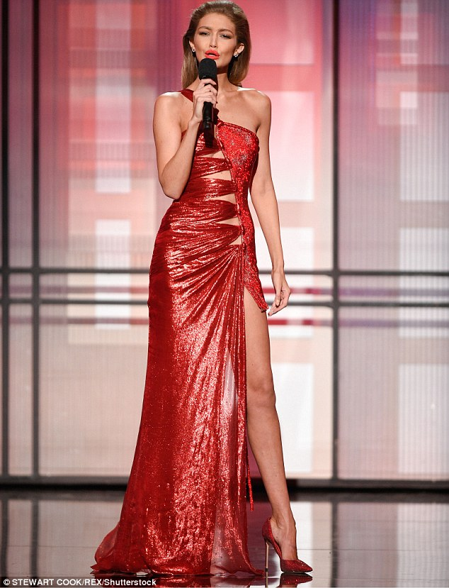 Playing her Trump card: Gigi Hadid mocked First Lady-to-be Melania at the AMAs on Sunday