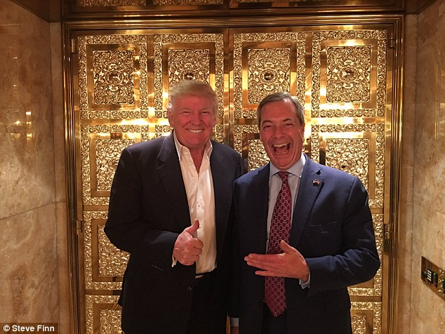 When the polls suggested Trump would fail to be elected to the White House, he told Farage that he would attend the party in his honour tonight 'win or lose' - but a change in result meant a change in tactic