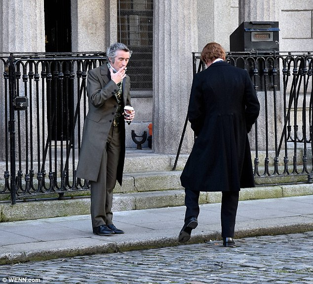 Who's that guy?Steve Coogan looked unrecognisable as a 19th century gentleman for his role in The Professor and the Madman as he joined Laurence Fox in Dublin on Wednesday