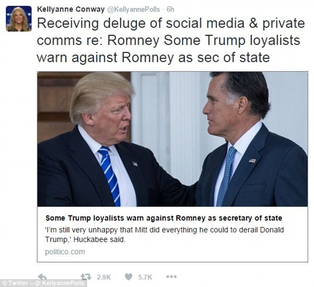 Image result for on trump romney secretary of state position and kelyanne conway