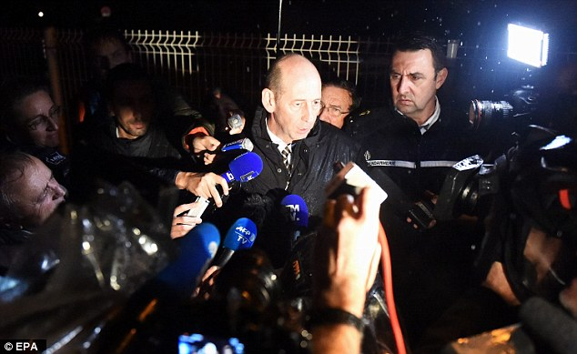 Montpellier prosecutor Christophe Barret (centre) speaks during a press conference near the retirement home