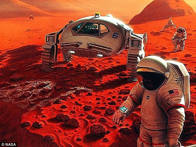One possibility is creating a colony on Mars (artist's impression pictured). The Pentagon experts are not alone in their belief humans will need to move planets one day. Earlier this month, Professor Stephen Hawking made a similar comment