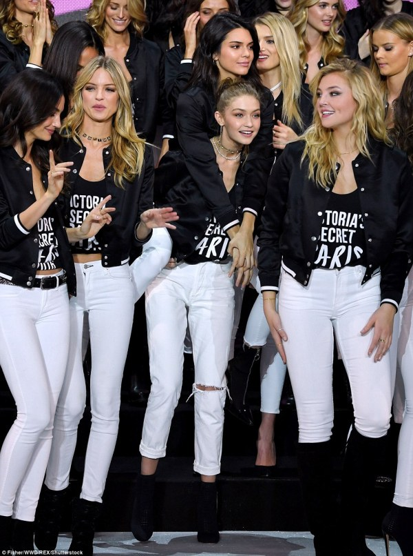 Model behaviour: Gigi and Bella Hadid, Kendall Jenner, Adriana Lima, Joan Smalls and Alessandra Ambrosio posed alongside the troop of stunning supermodels