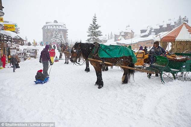Avoriaz is a car-free zone. The transport options are walking, skiing, snowboarding - or horse and cart (pictured)