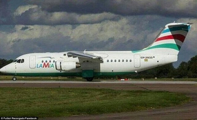 Pictured is the plane that crashed in Colombia on Monday night after reportedly suffering power failures