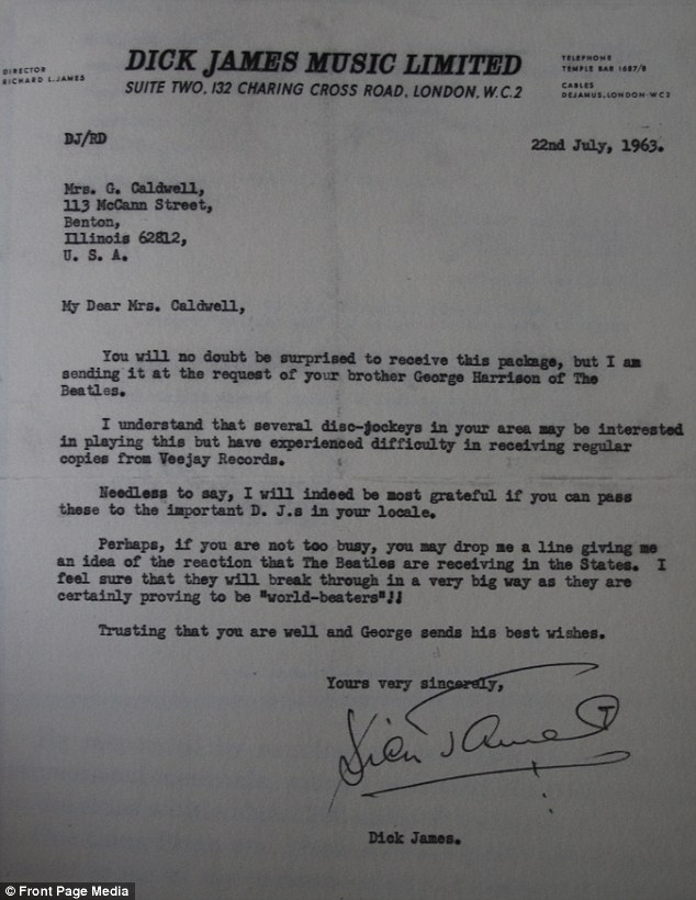 Dick James wrote Louise a letter giving her permission to distribute Beatles records in the United States