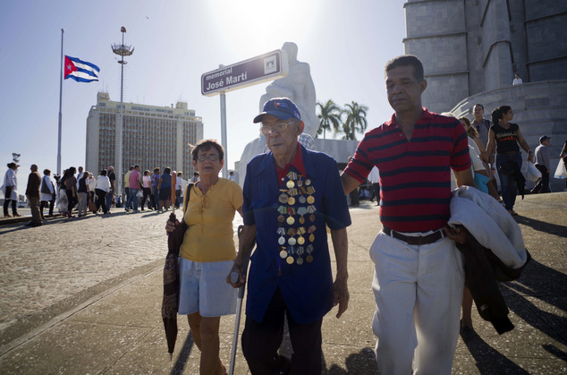 A revolutionary war veteran, donning his medals, leaves Revolution Plaza, after paying his final respects to the late leader Fidel Castro, in Havana, Cuba, M...