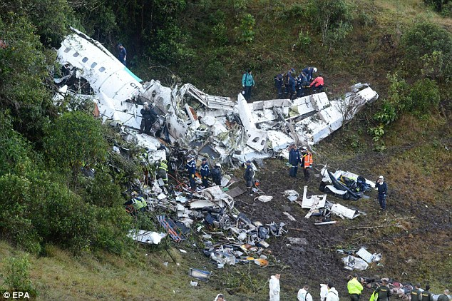 Mr Tumiri revealed how passengers got up and started screaming as the CP-2933 plane began to plummet into a mountainside after suffering electrical failure. Pictured: Rescuers pouring through the wreckage