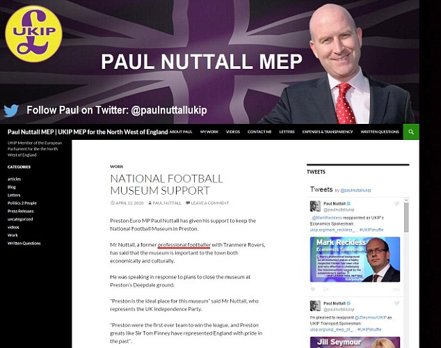 The two posts on paulnuttallmep.com were written in 2010. The first, published in April, called him a 'former professional footballer' in the second paragraph