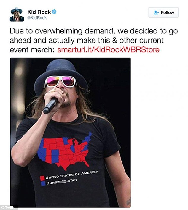 Ritchie announced the new apparel on his Twitter, claiming that there had an 'overwhelming demand' after he sported the map shirt at a recent performance