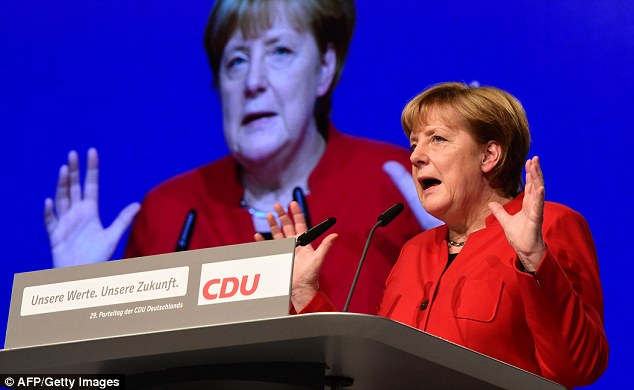 Angela Merkel (pictured, speaking at the CDU conference in Essen) faces a surge in the polls for the anti-migrant Alternative für Deutschland party ahead of next year's elections