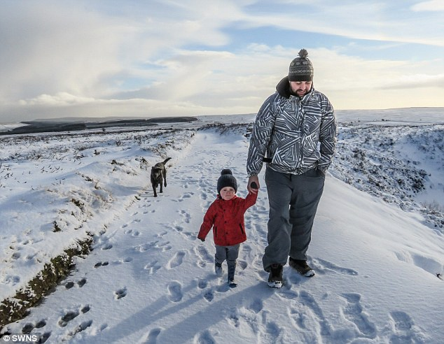 Amy's son Chase, two, and her husband Paul. Amy says of her money-saving tactics:'I literally spend what I can afford at Christmas'