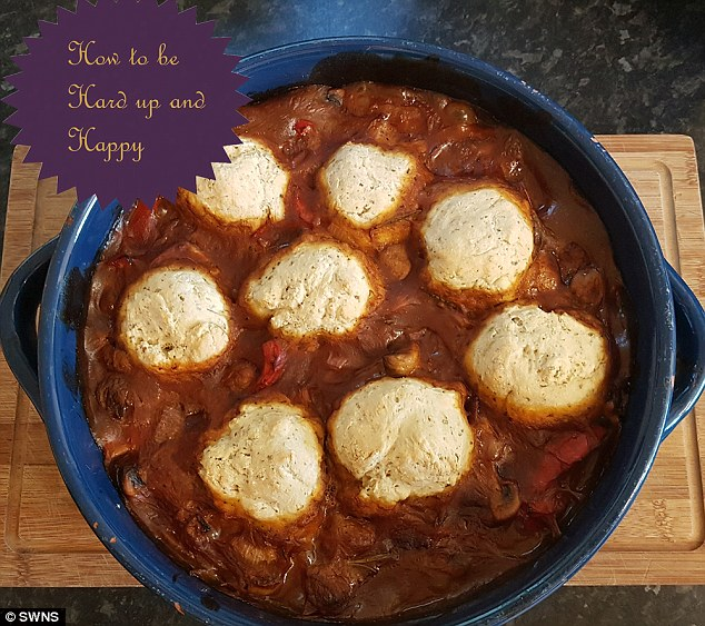 Amy'ssausage and pepper casserole, with herby dumplings and carrot and swede mash, comes to just 50p