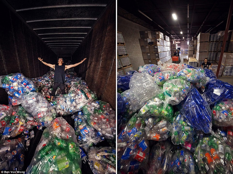 Mr Von Wong (pictured left) received a delivery of 10,000 plastic bottles from an American waste company