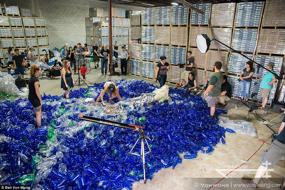 Inside a warehouse in the United States, Mr Von Wong and an army of volunteers set out to create a mermaid wonderland with 10,000 plastic bottles