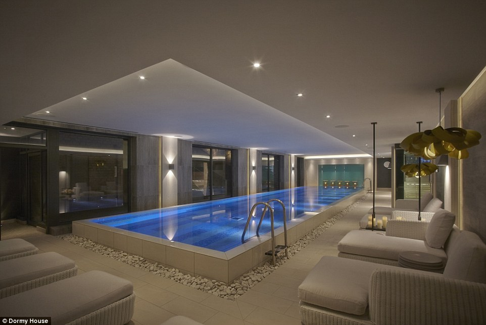 Ultimate relaxation: A 16m swimming pool forms the centre-piece of the House Spa, which is at once cosy and stylish