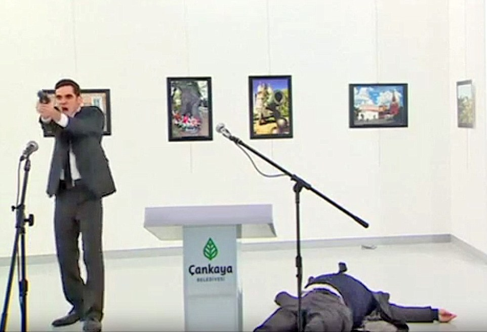The horrific scene was caught on camera by journalists at the gallery to cover the exhibition