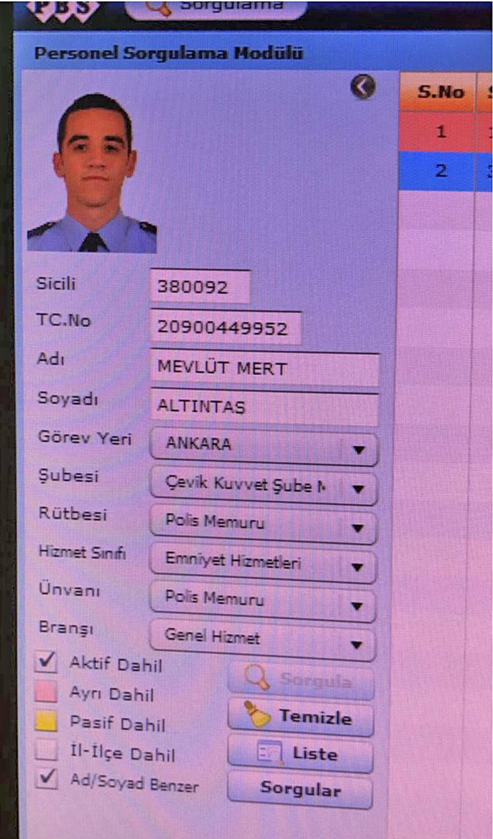 Another Turkish website claimed to show sections of Altintas's personnel file