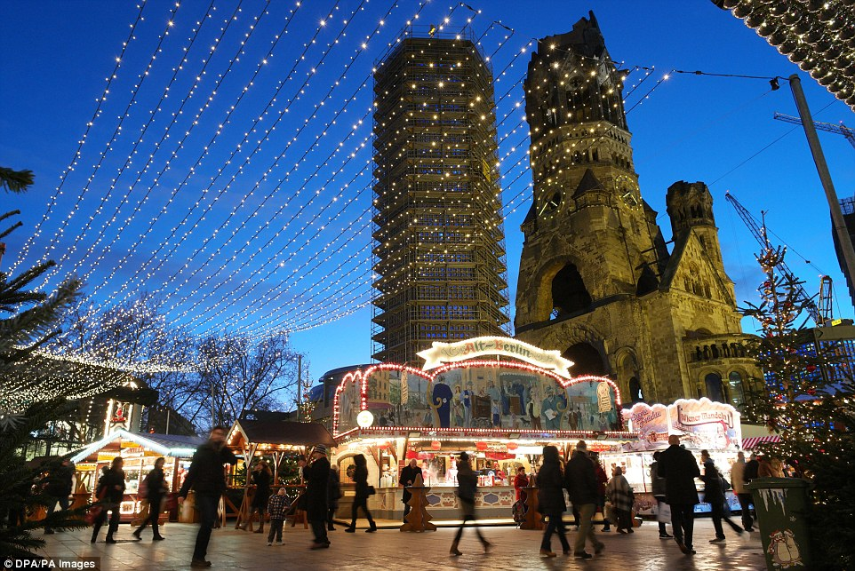 A view of the normally merry and pretty Christmas market at the Kaiser Wilhelm Memorial Church in Berlin, Germany