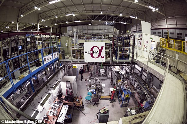 Researchers working on the ALPHA experiment at CERN , which is located on the Swiss-French border,used a laser to tickle atoms of antimatter and make them shine, a key step toward answering one of the great riddles of the universe.