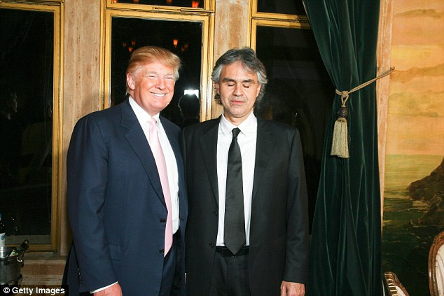 Trump is a big fan of Bocelli and reportedly personally asked him to play his inauguration. The pair are pictured together in February 2010