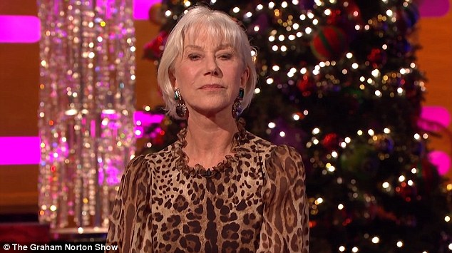 leopard print sofa appears lexington furniture leather helen mirren delivers alternative christmas message on ...