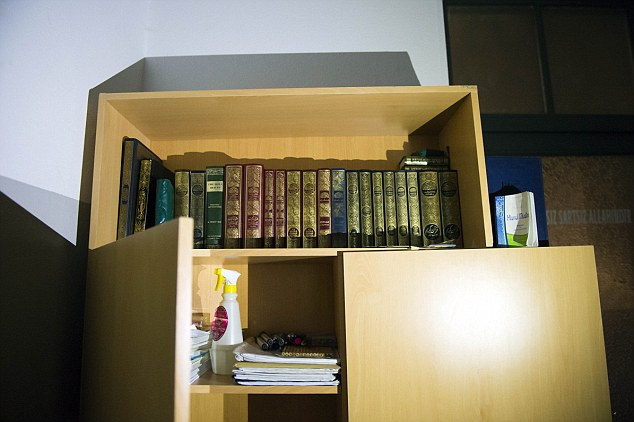 Islamic books and pamphlets were stored in a cupboard inside the mosque in the Moabit area