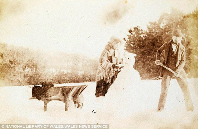 This isMary Dillwyn's photograph of a snowman - believed to be the first time one was pictured