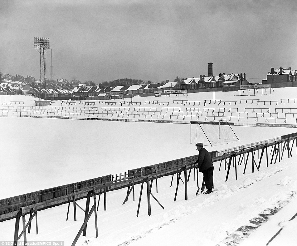 The snow covered pitch and terraces of Selhurst Park where Crystal Palace hope to play an FA Cup tie against Leeds United
