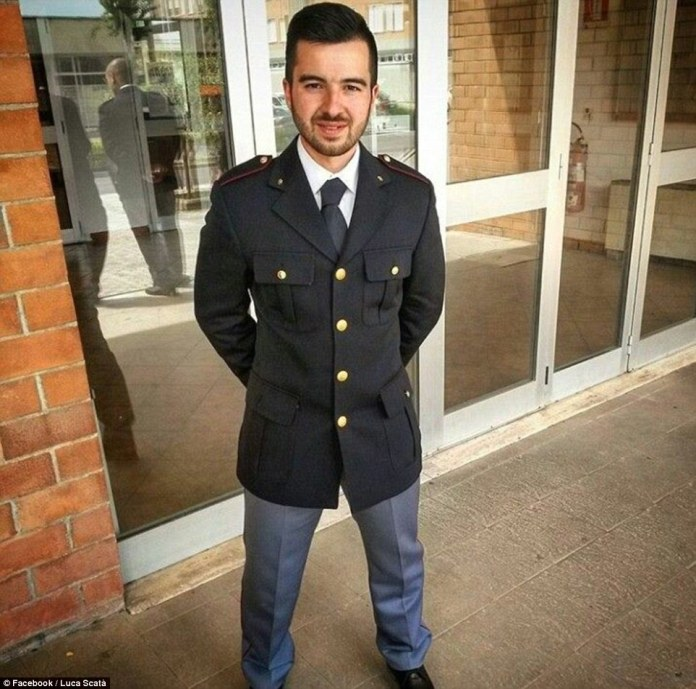 Rookie officer Luca Scata has been named as the hero police officer who gunned Amri down yesterday morning