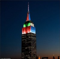 Empire State Building lights up red and green for ...