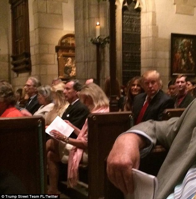 Donald and Melania Trump took their seats inside thethe Church of Bethesda-by-the-Sea at about 10.30pm on Saturday