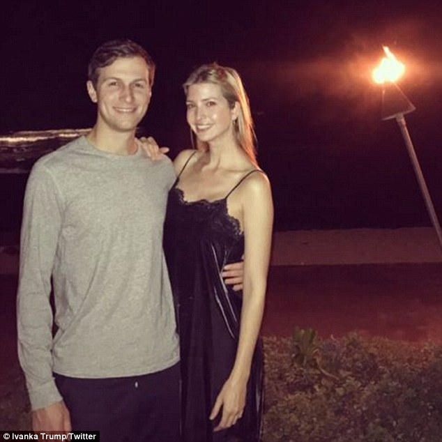 Ivanka posted a photo on Christmas night of herself and husband Jared on the beach at their resort (above)