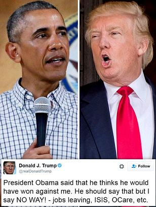 Trump mocks Obama for saying he could have beaten him if he were allowed to run again