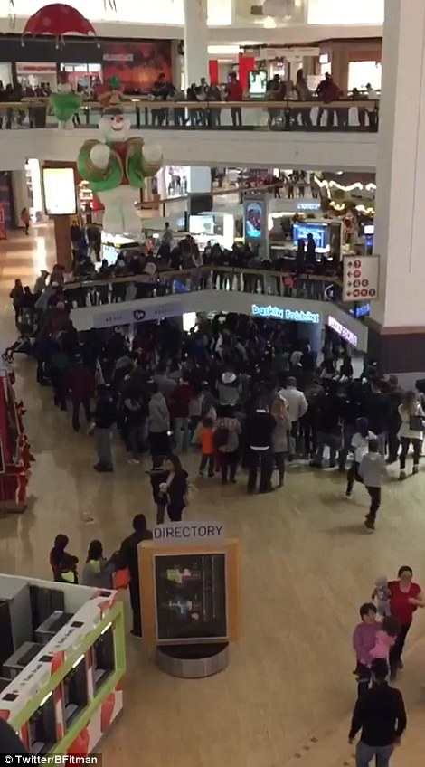 Court in the act: Hundreds of people were in the vicinity of a food court brawl in the Fox Valley Mall in Aurora, Illinois.
