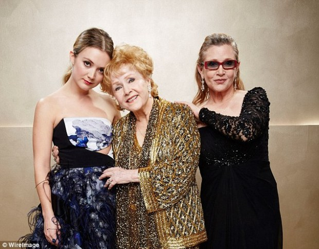 Family: Fisher is survived by her mother Debbie Reynolds, 84, and her daughter Billie Lourd, 24 (above in January 2015)